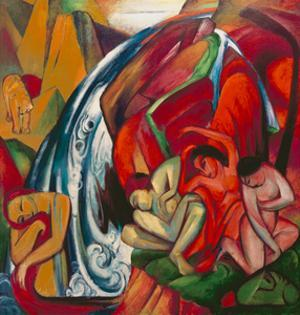 The Waterfall 1912 by Franz Marc