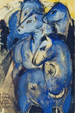 Tower of the Blue Horses, 1913 (Postcard to Else Lasker-Schueler) by Franz Marc