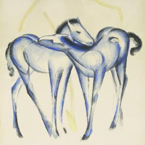 Two Blue Horses by Franz Marc