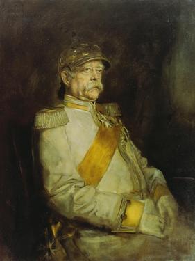 Fuerst Otto Von Bismarck in the Uniform of the Halberstaedter Cuirassiers by Franz Seraph von Lenbach