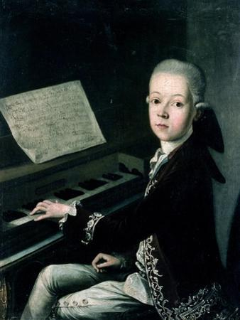 Portrait of Carl Graf Firmian at the Piano, Formerly Thought to be Mozart (1756-91) by Franz Thaddaus Helbling