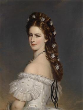 Empress Elisabeth of Austria with Diamond Stars in Her Hair, Ca 1860 by Franz Xaver Winterhalter