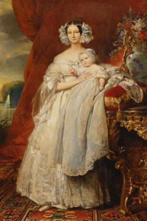Helene-Louise de Mecklembourg-Schwerin, Duchess of Orleans with his son Count of Paris, 1839
