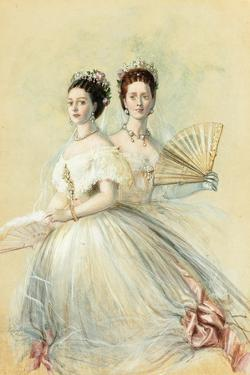 Portrait of Czarina Maria Feodorovna and Her Sister Alexandra by Franz Xaver Winterhalter