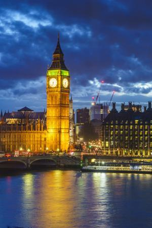 Big Ben (the Elizabeth Tower) and Westminster Bridge at dusk, London, England, United Kingdom, Euro by Fraser Hall