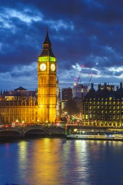Big Ben (the Elizabeth Tower) and Westminster Bridge at dusk, London, England, United Kingdom, Euro by Fraser Hall