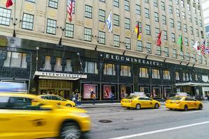 Bloomingdales Department Store and yellow taxi cabs, Lexington Avenue, Manhattan, New York City, Un by Fraser Hall