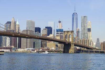 Brooklyn Bridge and Manhattan skyline, New York City, United States of America, North America by Fraser Hall