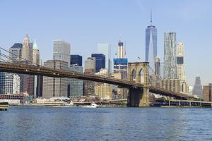 Brooklyn Bridge and Manhattan skyline, New York City, United States of America, North America by Fraser Hall