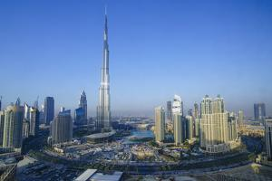 Burj Khalifa and Surrounding Downtown Skyscrapers, Dubai, United Arab Emirates, Middle East by Fraser Hall