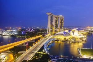 Busy Roads Leading to the Marina Bay Sands, Gardens by the Bay and Artscience Museum at Night by Fraser Hall