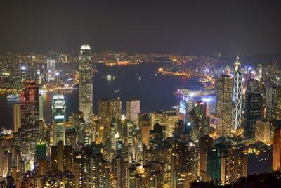 City skyline viewed from Victoria Peak by night, Hong Kong, China, Asia by Fraser Hall