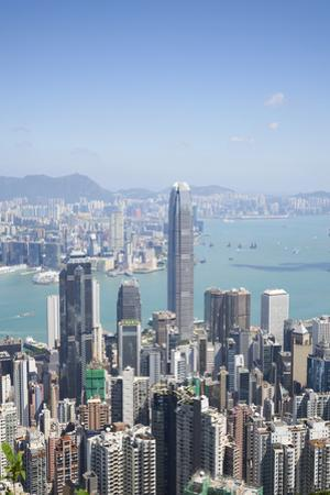 City skyline, viewed from Victoria Peak with Two International Finance Centre (2IFC), Hong Kong, Ch by Fraser Hall