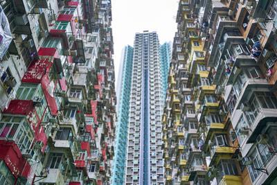 Densely crowded apartment buildings, Hong Kong Island, Hong Kong, China, Asia by Fraser Hall