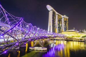 Helix Bridge leading to the Marina Bay Sands, Marina Bay, Singapore, Southeast Asia, Asia by Fraser Hall