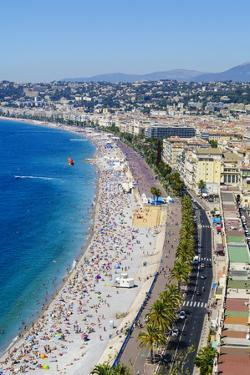 High view of the Promenade Anglais and beach, Nice, Alpes Maritimes, Cote d'Azur, Provence, France, by Fraser Hall