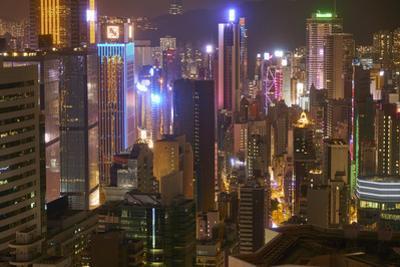 Hong Kong Island skyscrapers illuminated at night, Hong Kong, China, Asia by Fraser Hall
