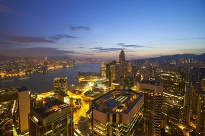 Hong Kong skyline just before sunrise looking from Hong Kong Island across Victoria Harbour to Kowl by Fraser Hall