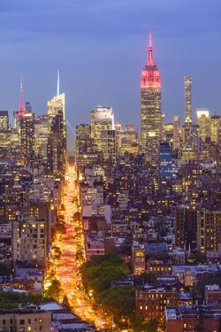 Manhattan skyline at dusk with the Empire State Building, New York City, United States of America,  by Fraser Hall
