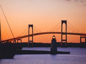 Newport Bridge and Harbor at Sunset, Newport, Rhode Island, USA by Fraser Hall