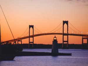Newport Bridge and Harbor at Sunset, Newport, Rhode Island, USA by Fraser Hall