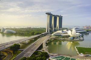 Roads Leading to the Marina Bay Sands, Gardens by the Bay and Artscience Museum at Sunrise by Fraser Hall
