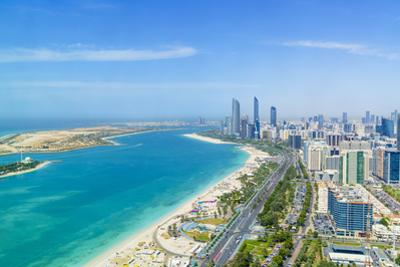 Skyline and Corniche, Al Markaziyah District, Abu Dhabi, United Arab Emirates, Middle East by Fraser Hall
