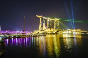 The Nightly Light and Laser Show in Marina Bay from the Marina Bay Sands, Singapore, Southeast Asia by Fraser Hall