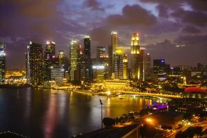 The Towers of the Central Business District and Marina Bay at Dusk, Singapore, Southeast Asia, Asia by Fraser Hall