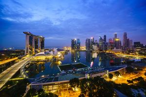 The Towers of the Central Business District and Marina Bay by Night, Singapore, Southeast Asia by Fraser Hall