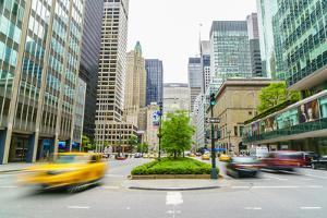 Yellow cab and cars on Park Avenue, Manhattan, New York City, United States of America, North Ameri by Fraser Hall