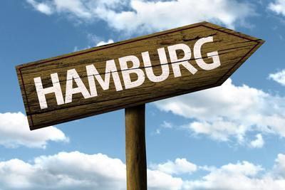 Hamburg, Germany Wooden Sign on a Beautiful Day