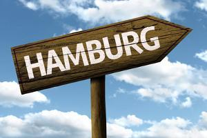 Hamburg, Germany Wooden Sign on a Beautiful Day by Frazao