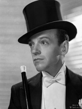 Fred Astaire Posed in Suit with Top Hat Black and White by E Bachrach