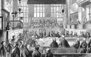 Court Scene, Newgate, 1862 by Fred Bennett