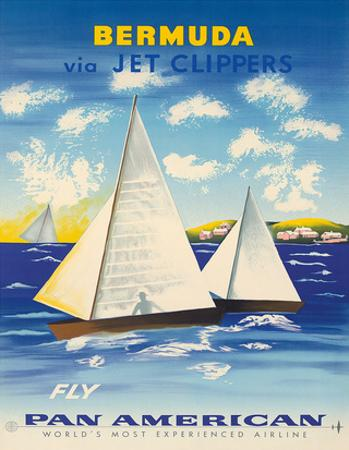 Bermuda via Jet Clippers - Fly Pan American Airlines (PAA) - Sailboats in Somers Isles by Fred Ludekens