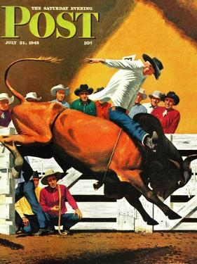 """""""Bull Riding,"""" Saturday Evening Post Cover, July 21, 1945 by Fred Ludekens"""