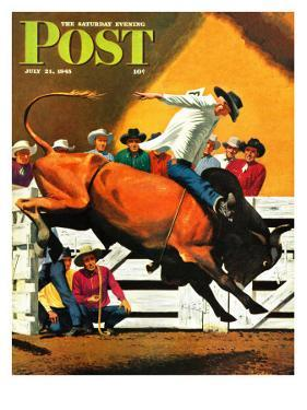 """Bull Riding,"" Saturday Evening Post Cover, July 21, 1945 by Fred Ludekens"