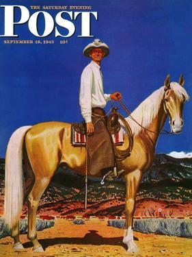 """Cowboy on Palomino,"" Saturday Evening Post Cover, September 18, 1943 by Fred Ludekens"