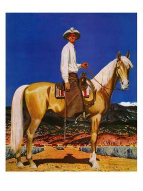 """Cowboy on Palomino,"" September 18, 1943 by Fred Ludekens"