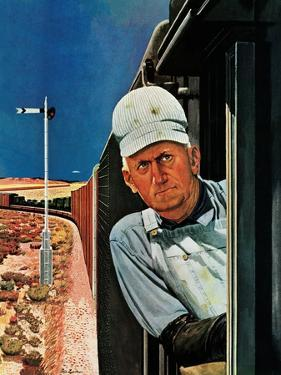 """""""Freight Train Engineer,"""" June 3, 1944 by Fred Ludekens"""