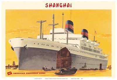 Shanghai Harbor - S.S. President Wilson - American President Lines