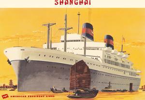 Shanghai Harbor - S.S. President Wilson - American President Lines by Fred Ludekens