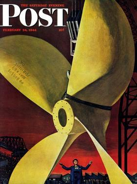 """Ships Propeller,"" Saturday Evening Post Cover, February 26, 1944 by Fred Ludekens"