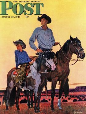 """""""Surveying the Ranch,"""" Saturday Evening Post Cover, August 19, 1944 by Fred Ludekens"""