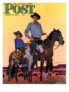 """Surveying the Ranch,"" Saturday Evening Post Cover, August 19, 1944 by Fred Ludekens"