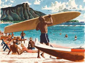 Waikiki Beach, Honolulu, Hawaii, c.1950s by Fred Ludekens
