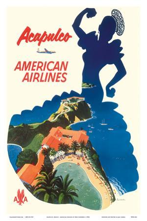 Acapulco, Mexico - American Airlines - Mexican Dancer Silhouette by Fred Ludenken