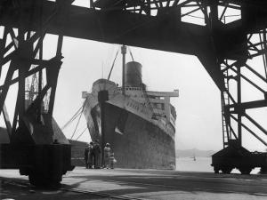 """The Cunard White Star Liner the """"Queen Mary"""" Docked at Southampton England by Fred Musto"""