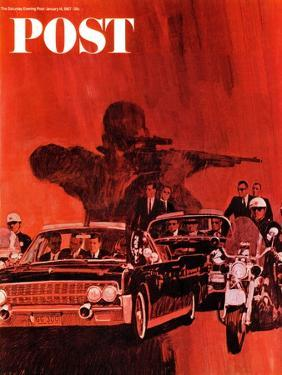 """""""The Kennedy Assassination,"""" Saturday Evening Post Cover, January 14, 1967 by Fred Otnes"""